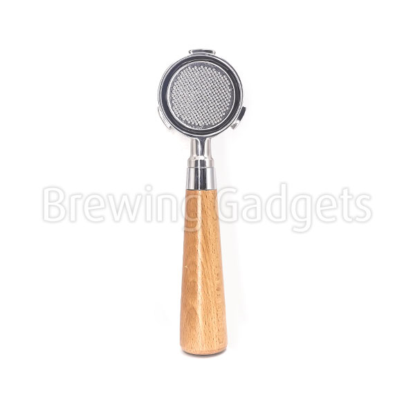 BG 51mm Bottomless Wooden Handle Portafilter - with Non-Pressurized Basket