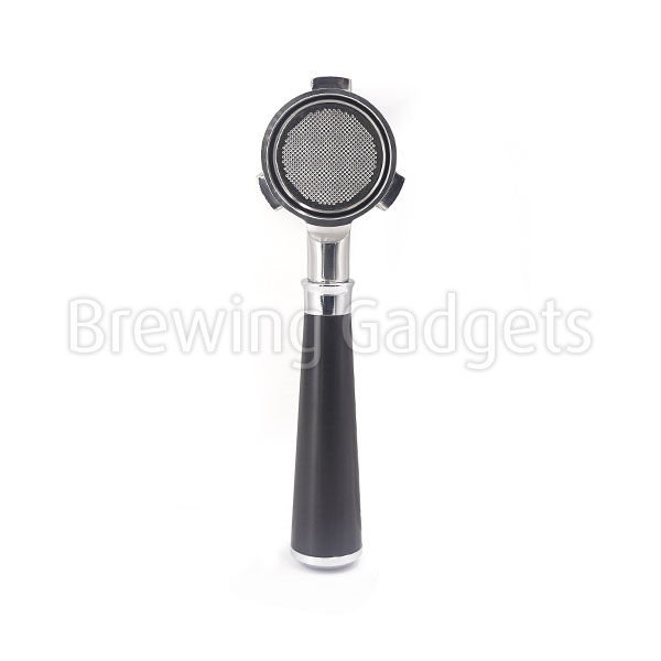BG 53mm Bottomless Black Wooden Handle Portafilter - with Non-Pressurized Basket