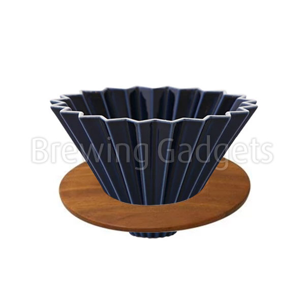 Navy Blue Origami Dripper M with Wooden Holder