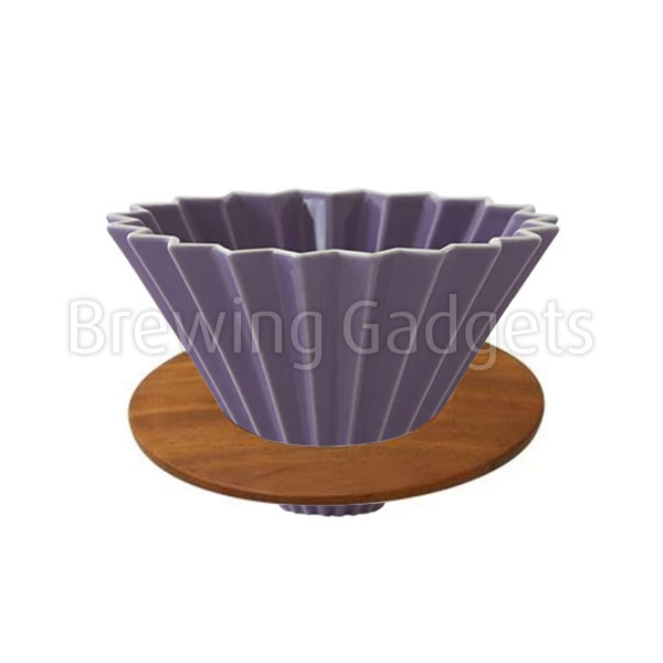 Purple Origami Dripper M with Wooden Holder