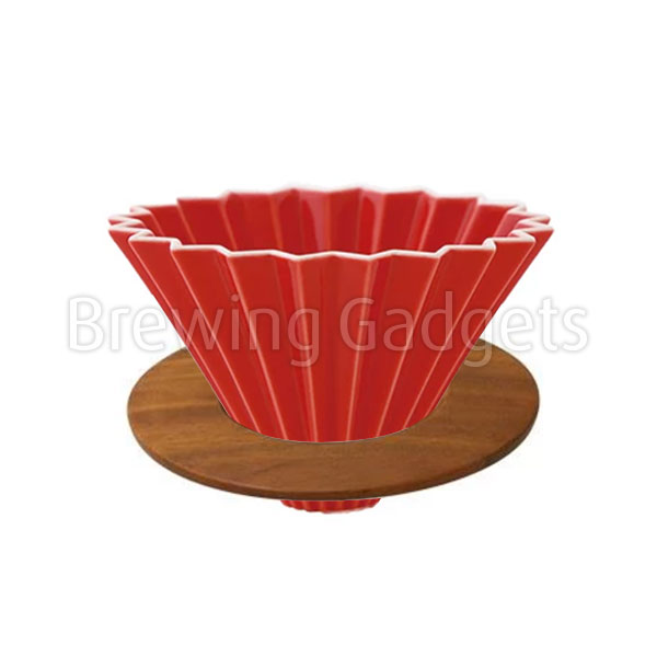 Red Origami Dripper M with Wooden Holder