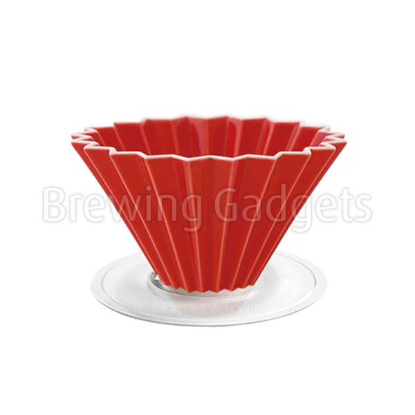 Red Origami Dripper M with Plastic Holder