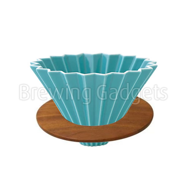 Turquoise Origami Dripper M With Wooden Holder