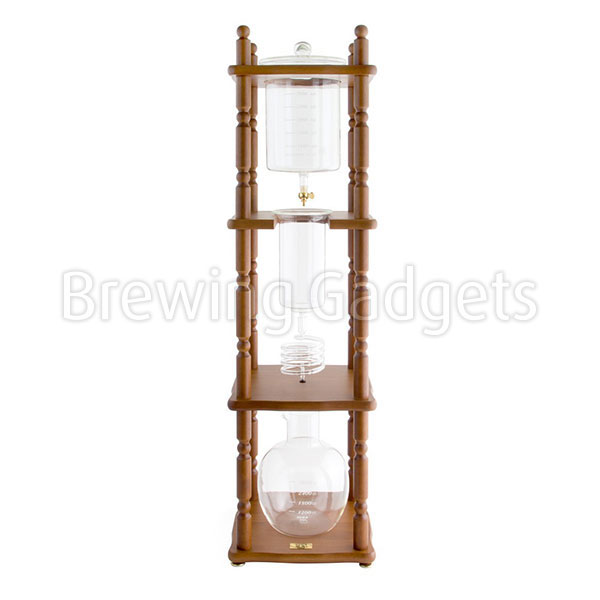 Yama Glass 25 Cup Cold Drip Maker Curved Brown Wood Frame
